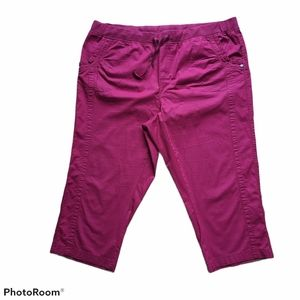 Cleo Petites Cranberry Red Capri Cropped Pants